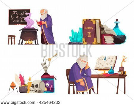 Cartoon Alchemy Compositions With Various Alchemical Tools And Old Man Making Potions Isolated Vecto