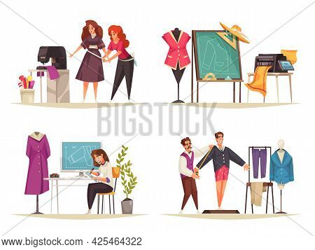 Set Of Four Cartoon Compositions With Atelier Tools Tailor Seamstress Taking Measurements Isolated V