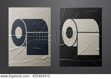 White Toilet Paper Roll Icon Isolated On Crumpled Paper Background. Paper Art Style. Vector