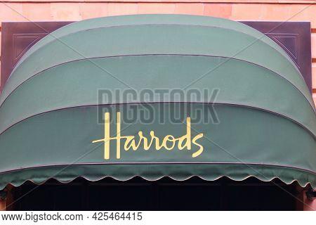 London, Uk - July 9, 2016: Famous Harrods Department Store In London. The Famous Retail Establishmen