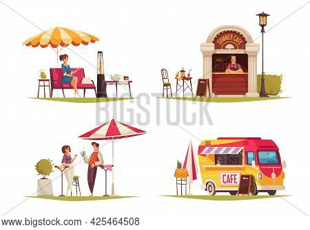 Street Cafe 4 Cartoon Compositions With Restaurant Outdoor Service Umbrella Parasol Refreshing Drink