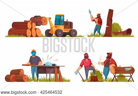 Lumberjack Concept 4 Cartoon Compositions Loggers Felling Tree With Axes Sawing Wood Log Handling Ma