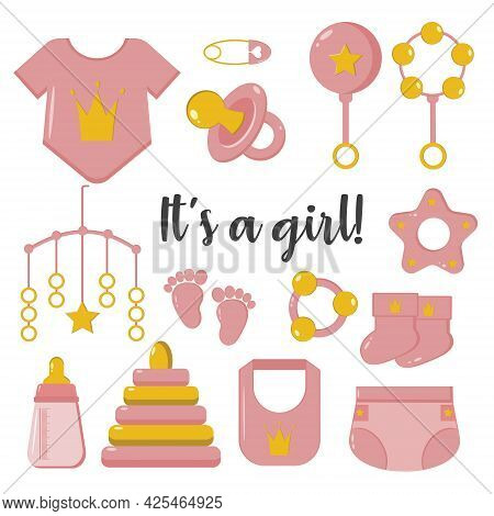 Its A Girl. Set Of Hand-drawn Elements For The Birth Of A Baby. White Background, Isolate. Vector Il