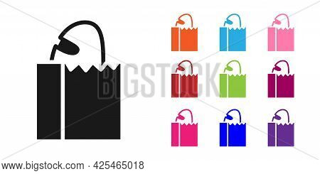 Black Paper Bag With Bread Loaf Icon Isolated On White Background. Set Icons Colorful. Vector