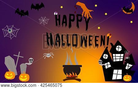 Happy Halloween Banner Or Party Invitation Background With Clouds, Bats In Flat Style Ghost And Ghos