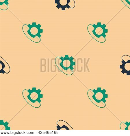 Green And Black Telephone 24 Hours Support Icon Isolated Seamless Pattern On Beige Background. All-d