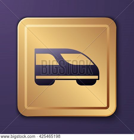 Purple High-speed Train Icon Isolated On Purple Background. Railroad Travel And Railway Tourism. Sub