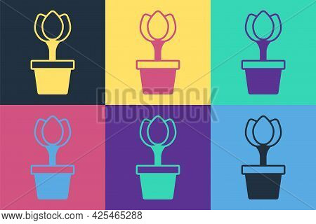Pop Art Flower Tulip In Pot Icon Isolated On Color Background. Plant Growing In A Pot. Potted Plant