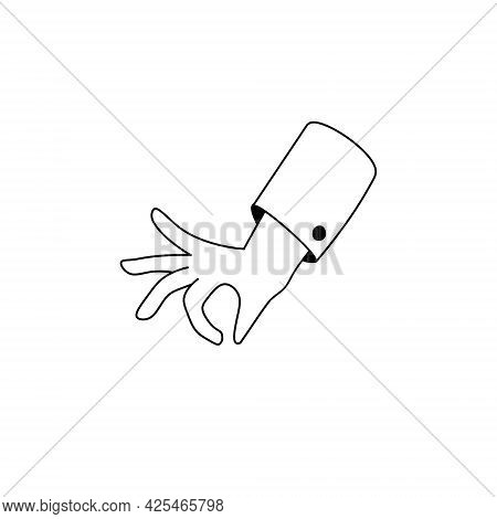 Hand Holding Something. Ok Gesture. Fingers And Palm. Outline Cartoon. Pick And Take