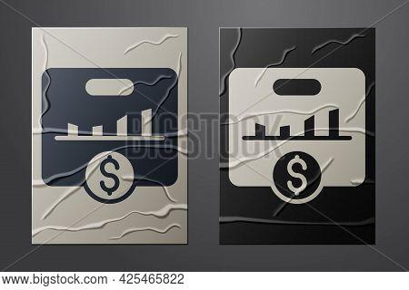 White Kpi - Key Performance Indicator Icon Isolated On Crumpled Paper Background. Paper Art Style. V