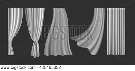 Curtains Vector Illustration Set. 3d Realistic Fluttering Curtains Collection From White Fabric Silk