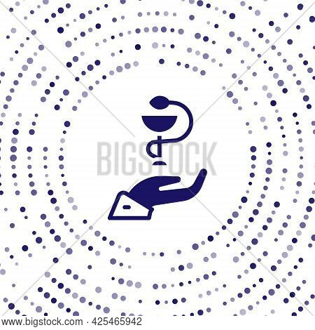 Blue Caduceus Snake Medical Symbol Icon Isolated On White Background. Medicine And Health Care. Embl