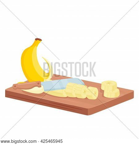 Cut Banana, Isometric Chef Knife Cutting Peeled Banana Into Slices On Wooden Board