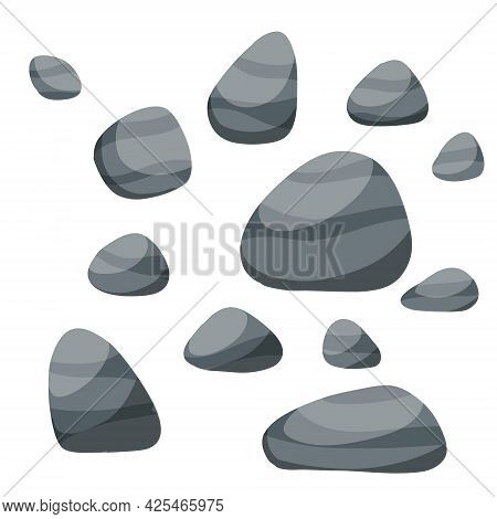 Set Of Stones. Scenery Of Nature, Forests And Mountains. Pile Of Rubble. Decorative Element. Flat Ca