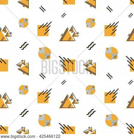 Vector Seamless Geometric Pattern. Abstract Shapes And Forms As Elements Of Retro Design. Background