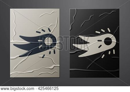 White Fireball Icon Isolated On Crumpled Paper Background. Paper Art Style. Vector