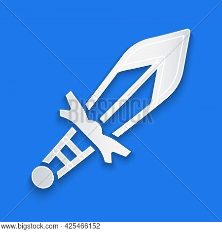 Paper Cut Medieval Sword Icon Isolated On Blue Background. Medieval Weapon. Paper Art Style. Vector