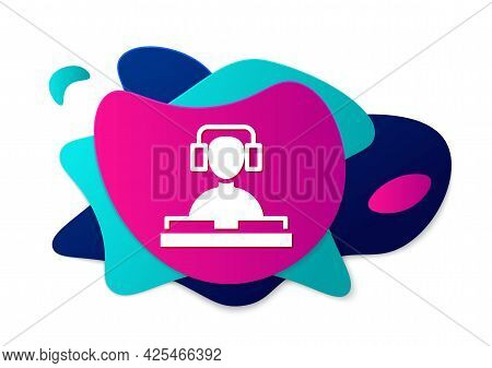 Color Dj Wearing Headphones In Front Of Record Decks Icon Isolated On White Background. Dj Playing M