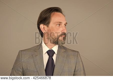 Recruitment Is Good. Bearded Man Grey Background. Mature Man In Formal Style. Fashion Look Of Busine