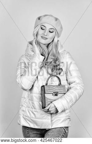 Female Wear Beret. Handbag Or Purse Accessories. Accessories Shop. Trendy Girl Holding Small Bag. Sh