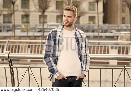 Make Guy Look His Best. Handsome Guy Stand Urban Outdoors. Unshaven Guy In Casual Style. Summer Fash