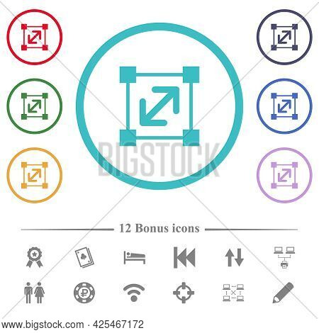 Resize Element Flat Color Icons In Circle Shape Outlines. 12 Bonus Icons Included.