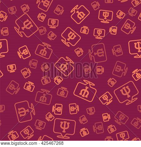 Brown Line Psychology Icon Isolated Seamless Pattern On Red Background. Psi Symbol. Mental Health Co