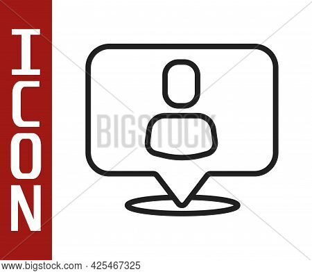Black Line Head Hunting Icon Isolated On White Background. Business Target Or Employment Sign. Human