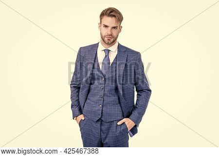 Elegant Director Wear Fashion Blue Suit In Business Formal Style Isolated On White, Elegance