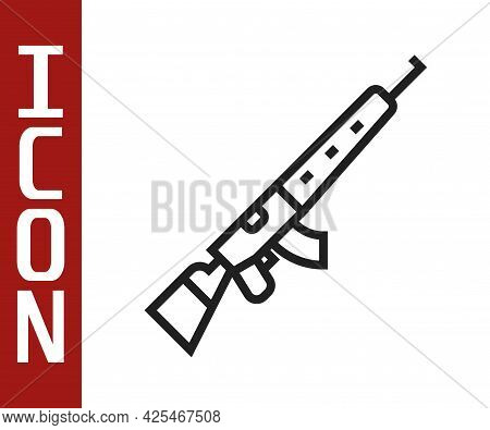 Black Line Sniper Rifle With Scope Icon Isolated On White Background. Vector