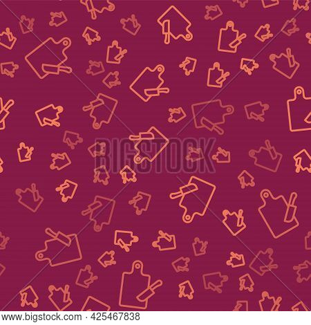 Brown Line Cutting Board And Knife Icon Isolated Seamless Pattern On Red Background. Chopping Board