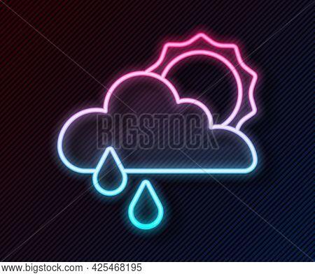 Glowing Neon Line Cloud With Rain And Sun Icon Isolated On Black Background. Rain Cloud Precipitatio