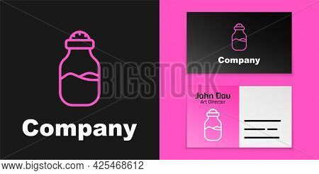 Pink Line In Can Icon Isolated On Black Background. Seasoning Collection. , Condiments In A Glass Ca