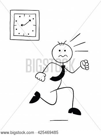 Stickman Businessman Character Running Late And Running, Vector Cartoon Illustration. Black Outlined