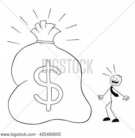 Stickman Businessman Character See The Huge Sack With Dollars And Surprised, Vector Cartoon Illustra