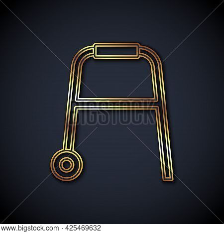 Gold Line Walker For Disabled Person Icon Isolated On Black Background. Vector