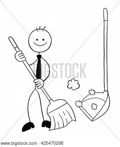 Stickman Businessman Character With Broom And Dustpan, Sweeping The Floor, Vector Cartoon Illustrati