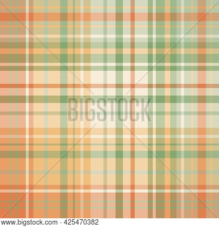 Seamless Pattern In Orange And Green Colors For Plaid, Fabric, Textile, Clothes, Tablecloth And Othe