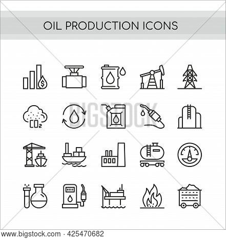Oil Production Vector Illustration Set, Flat Thin Line Icons Collection Of Oilfield Extraction, Tran