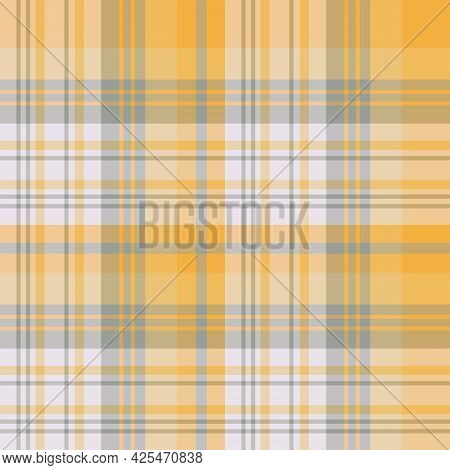 Seamless Pattern In Light Grey And Yellow Colors For Plaid, Fabric, Textile, Clothes, Tablecloth And