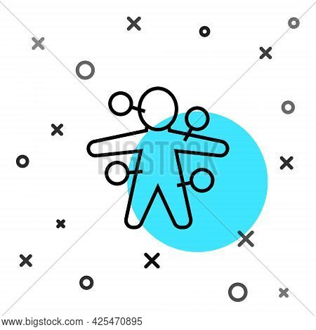 Black Line Voodoo Doll Icon Isolated On White Background. Random Dynamic Shapes. Vector