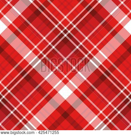 Seamless Pattern In Red And White Colors For Plaid, Fabric, Textile, Clothes, Tablecloth And Other T