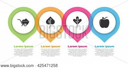 Set Wheelbarrow With Dirt, Leaf Or Leaves, Leaf Or Leaves And Apple. Business Infographic Template.