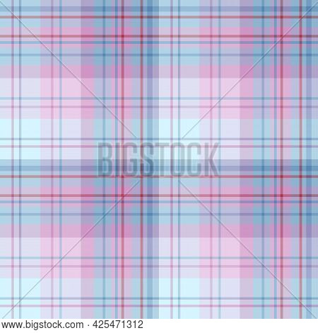 Seamless Pattern In Blue And Pink Colors For Plaid, Fabric, Textile, Clothes, Tablecloth And Other T