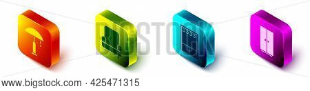 Set Isometric Table Lamp, Armchair, Wardrobe And Wardrobe Icon. Vector