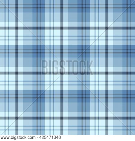 Seamless Pattern In Blue And Gray Colors For Plaid, Fabric, Textile, Clothes, Tablecloth And Other T