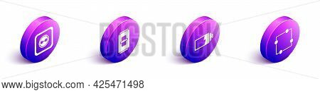 Set Isometric Electrical Outlet, Electric Light Switch, Battery Charge Level Indicator And Electric