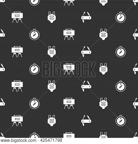 Set Swiss Army Knife, Compass, Military Mine And Bulletproof Vest On Seamless Pattern. Vector