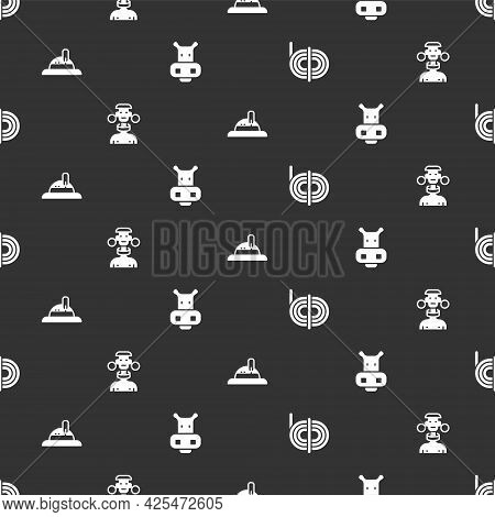 Set Climber Rope, African Tribe Male, Hunter Hat And Hippo Or Hippopotamus On Seamless Pattern. Vect