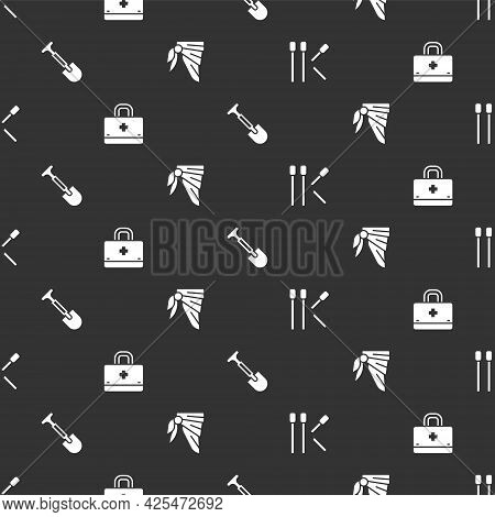 Set Matches, First Aid Kit, Shovel And Bandana Or Biker Scarf On Seamless Pattern. Vector